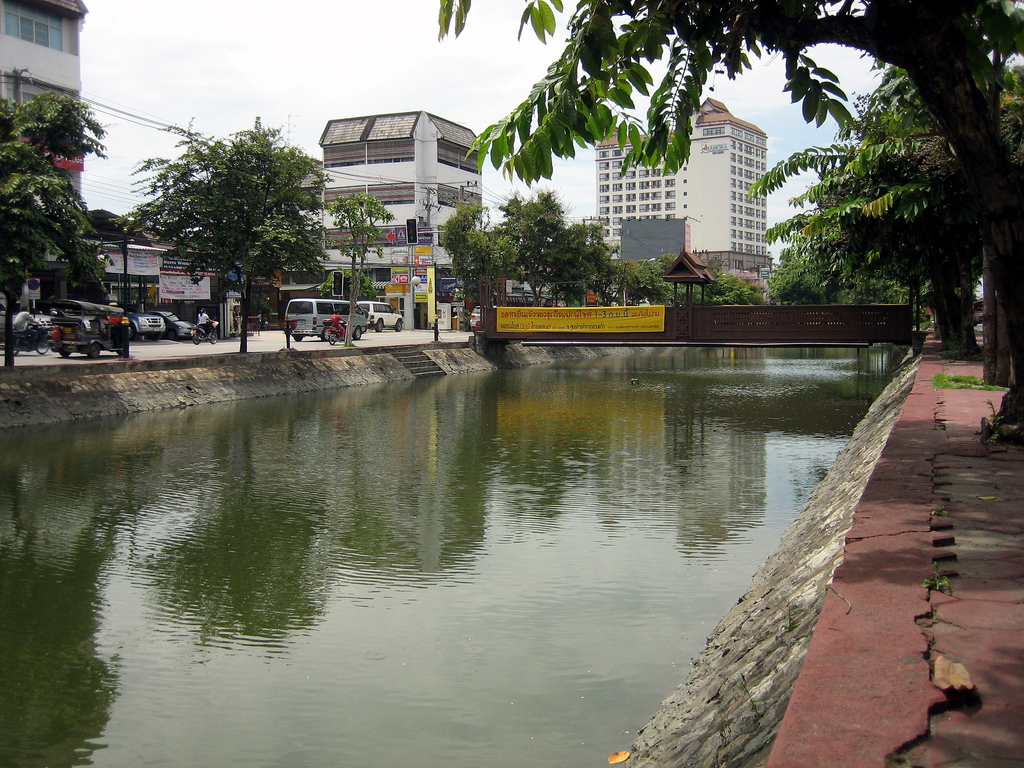 Chiang Mai, Thailand - City Center over Moat